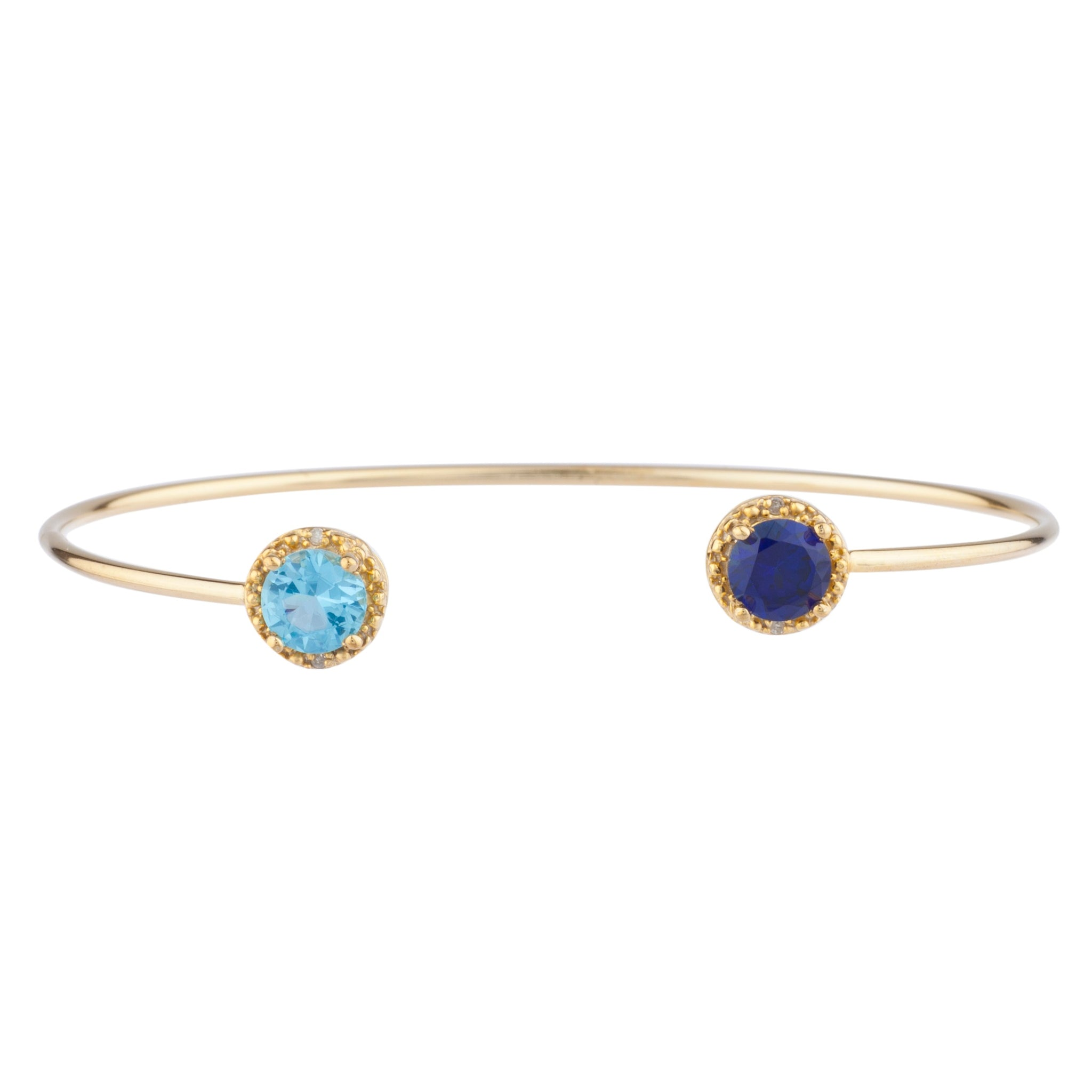 Blue Sapphire & Blue Topaz Diamond Bangle Round Bracelet 14Kt Yellow Gold Plated Over .925 Sterling Silver