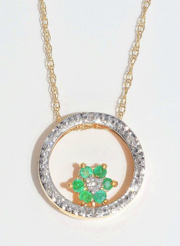 Genuine Emerald & Diamond Round Pendant 14Kt Yellow Gold Plated