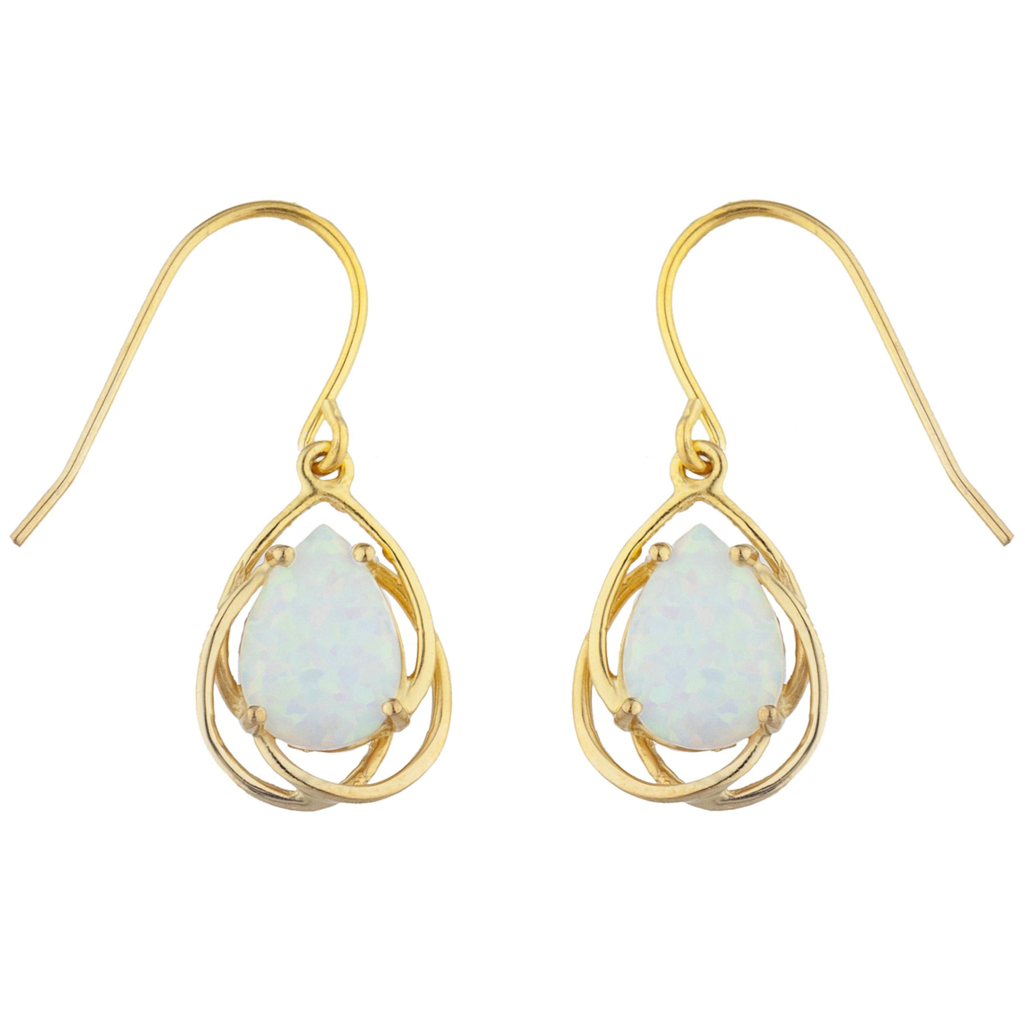 14Kt Yellow Gold Plated Opal Pear Teardrop Design Dangle Earrings