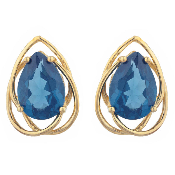 14Kt Gold 4 Ct London Blue Topaz Pear Teardrop Design Stud Earrings