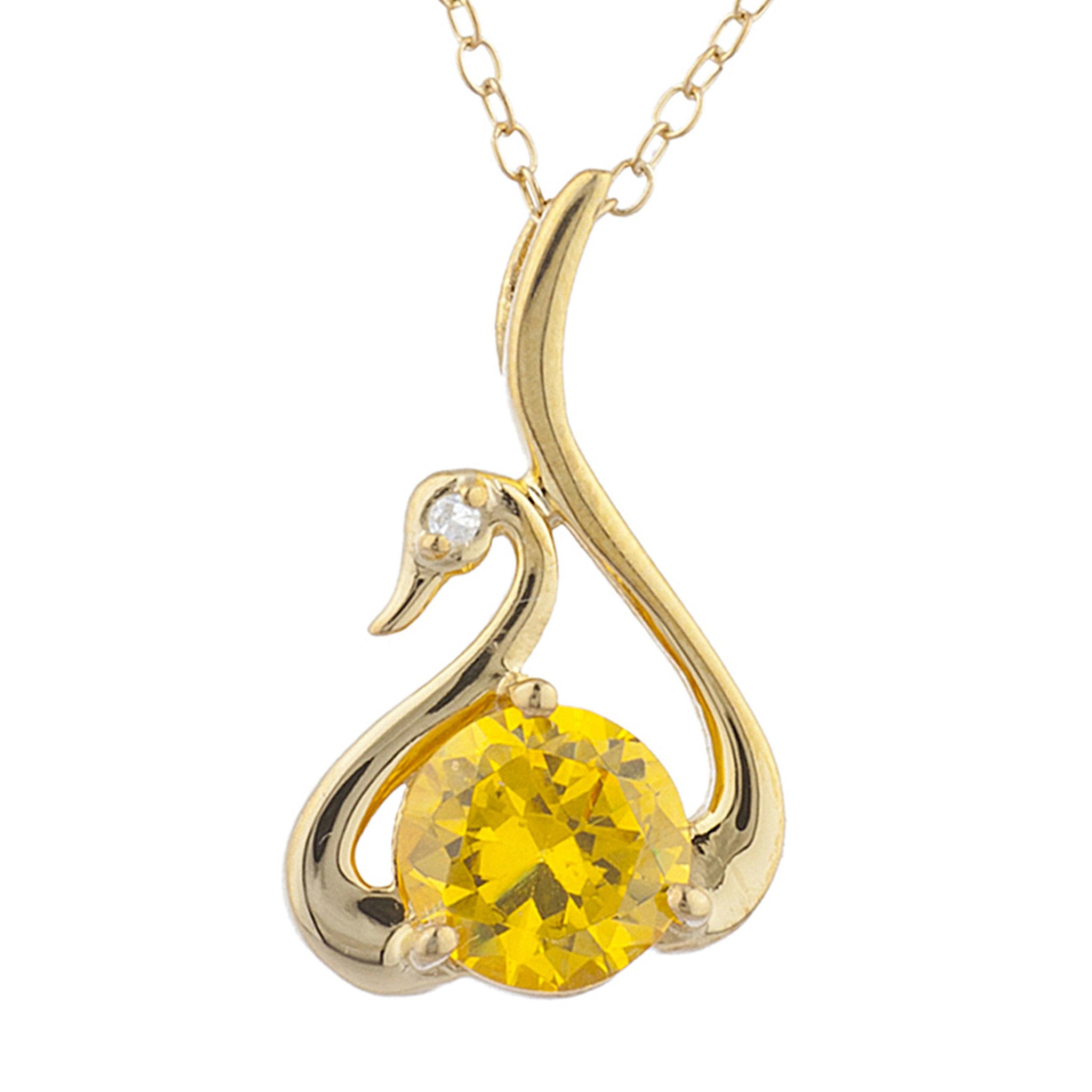 14Kt Yellow Gold Plated Yellow Citrine & Diamond Swan Pendant