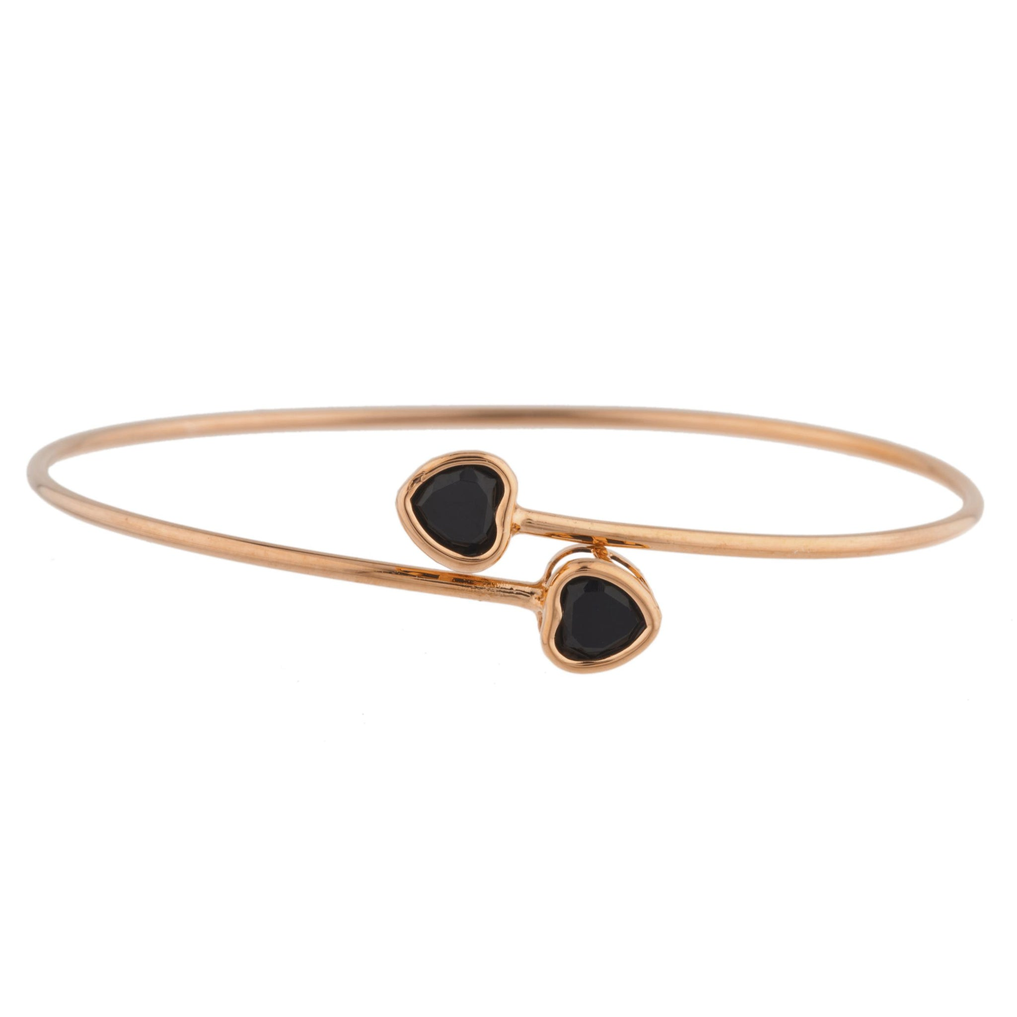 14Kt Rose Gold Plated Genuine Black Onyx Heart Bezel Bangle Bracelet