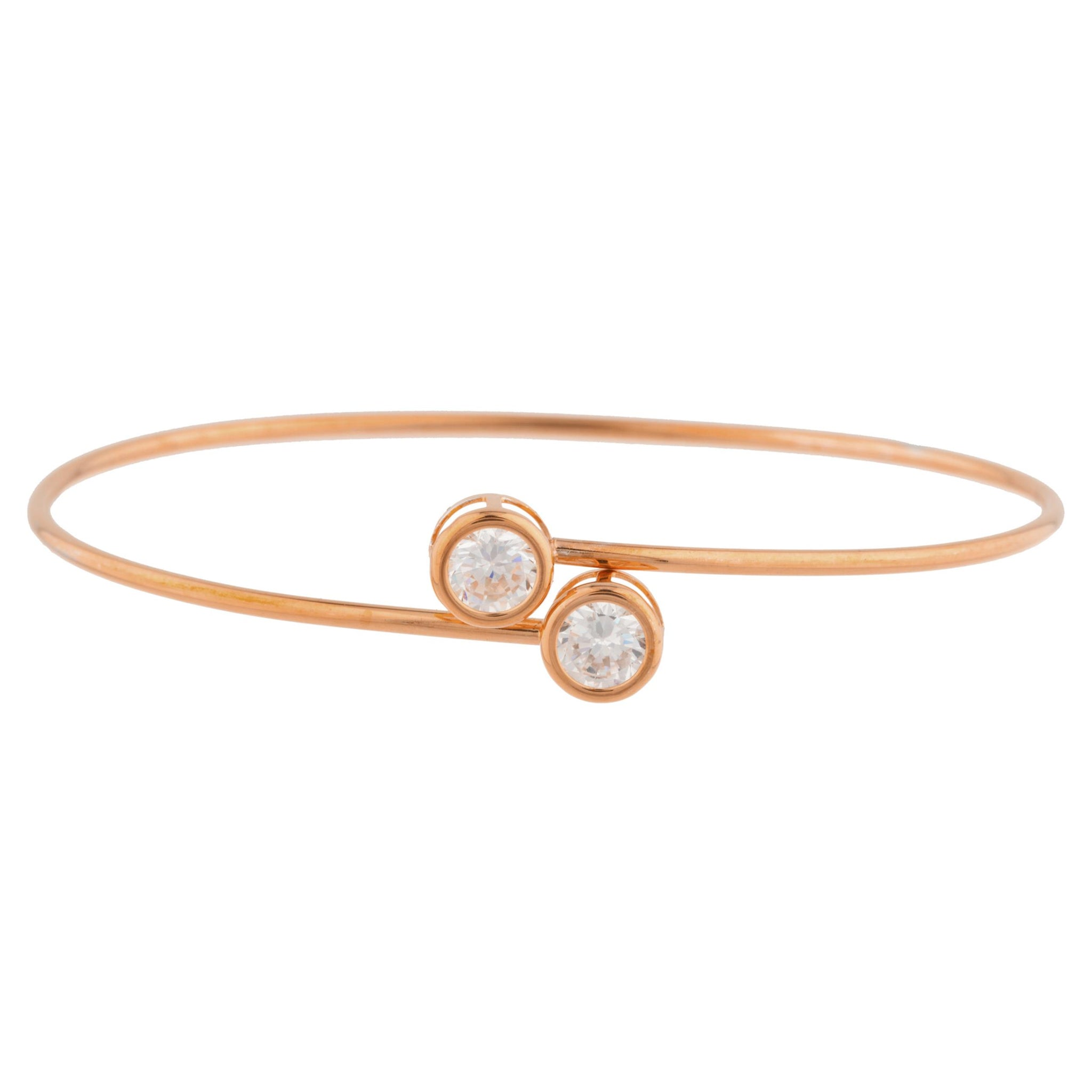 14Kt Rose Gold Plated Zirconia Round Bezel Bangle Bracelet