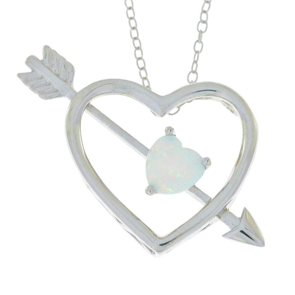 Genuine Opal Heart Bow & Arrow Pendant .925 Sterling Silver Rhodium Finish