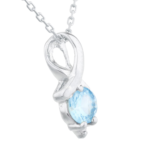 0.50 Ct Blue Topaz & Diamond Round Design Pendant .925 Sterling Silver