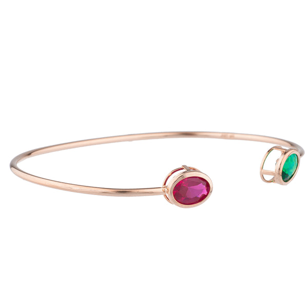 Created Ruby & Emerald Oval Bezel Bangle Bracelet 14Kt Rose Gold Plated Over .925 Sterling Silver