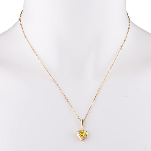 14Kt Yellow Gold Plated Yellow Citrine & Diamond Heart Pendant