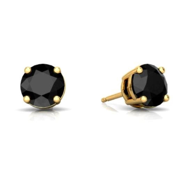 14Kt Yellow Gold Genuine Black Onyx Round Stud Earrings
