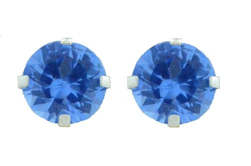 2 Carat Tanzanite Round Stud Earrings .925 Sterling Silver