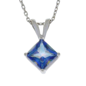 14Kt Gold Natural Blue Mystic Topaz Princess Cut Pendant Necklace
