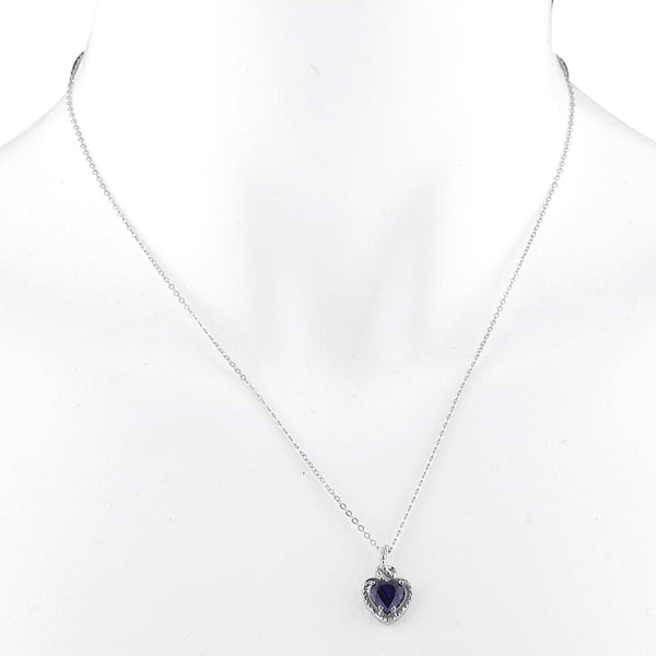 1.5 Ct Blue Sapphire Heart Design Pendant .925 Sterling Silver