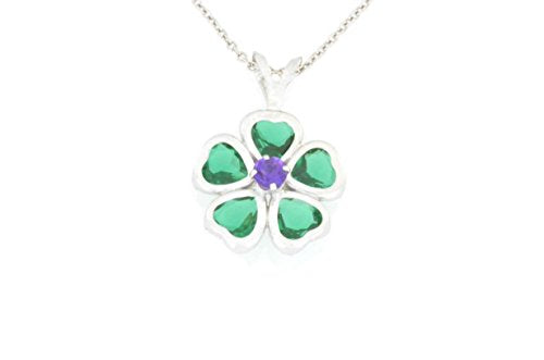 2.5 Ct Emerald Heart Bezel & Amethyst Pendant .925 Sterling Silver Rhodium Finish