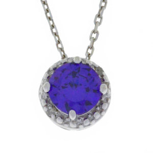 1 Ct Amethyst & Diamond Round Pendant .925 Sterling Silver Rhodium Finish