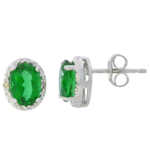 2 Ct Emerald & Diamond Oval Stud Earrings 14Kt White Gold