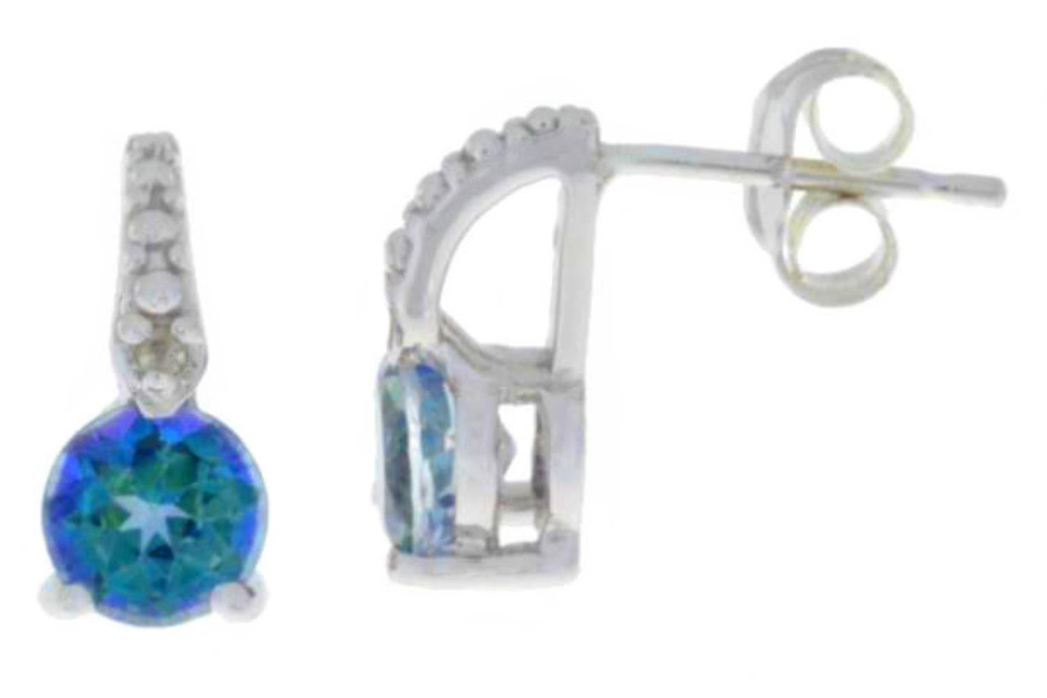 1 Ct Blue Mystic Topaz & Diamond Round Stud Earrings .925 Sterling Silver
