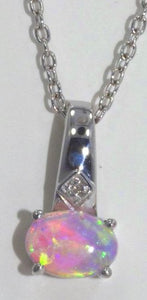 7x5mm Pink Opal Oval Diamond Pendant .925 Sterling Silver Rhodium Finish