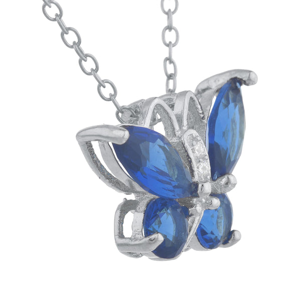 Blue Sapphire Butterfly Pendant .925 Sterling Silver