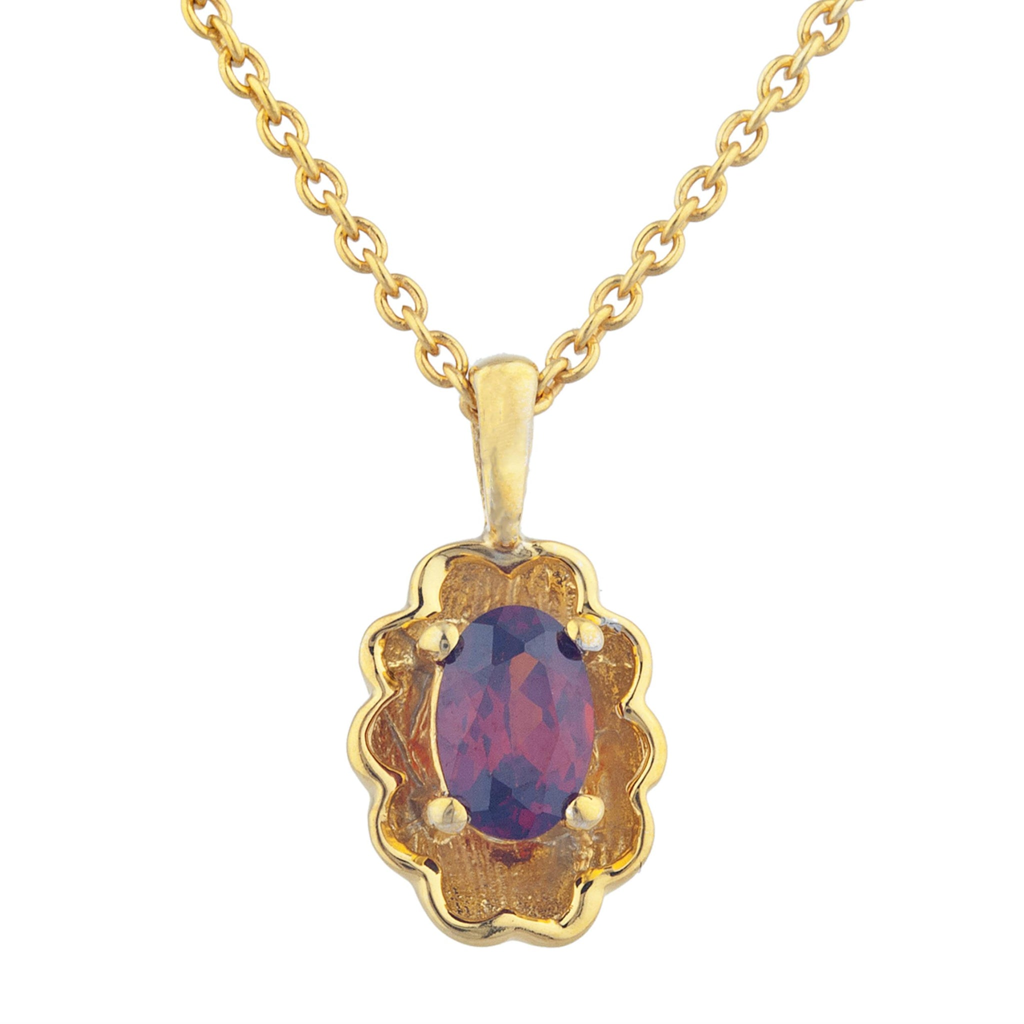 14Kt Yellow Gold Plated Garnet Oval Design Pendant