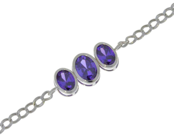 3.5 Ct Amethyst Oval Bezel Bracelet .925 Sterling Silver Rhodium Finish