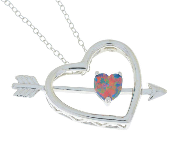 Black Opal Heart Bow & Arrow Pendant .925 Sterling Silver Rhodium Finish
