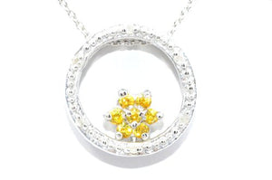 Yellow Citrine Round Diamond Pendant .925 Sterling Silver Rhodium Finish