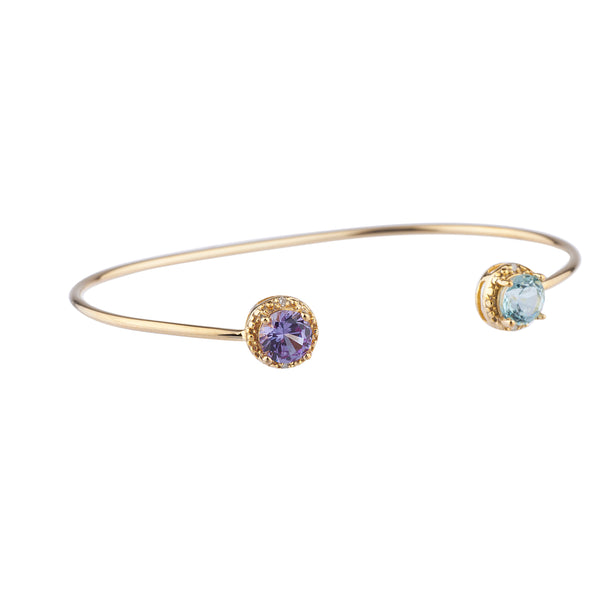Genuine Aquamarine & Alexandrite Diamond Bangle Bracelet 14Kt Yellow Gold Plated Over .925 Sterling Silver