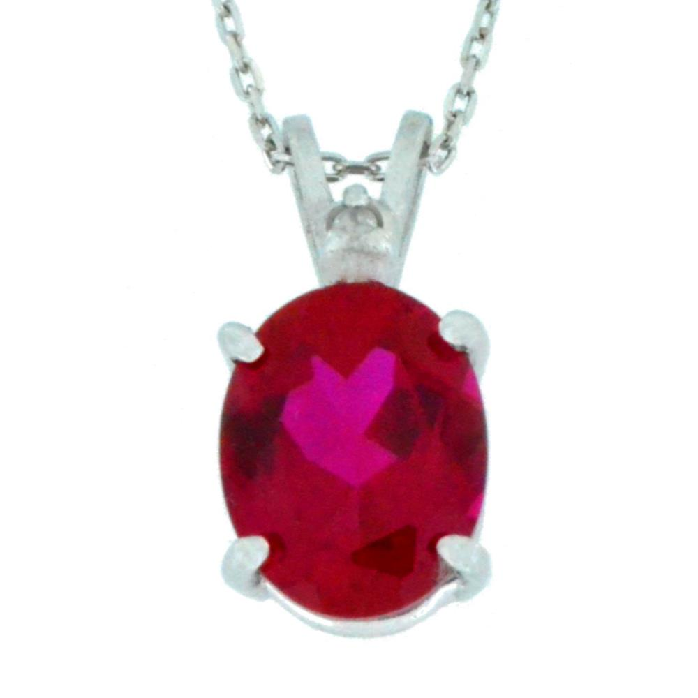 2.5 Ct Created Ruby & Diamond Oval Pendant .925 Sterling Silver Rhodium Finish