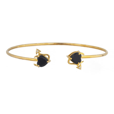 Genuine Black Onyx & Diamond Devil Heart Bangle Bracelet 14Kt Yellow Gold Rose Gold Silver