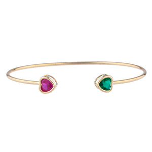 14Kt Gold Created Ruby & Emerald Heart Bezel Bangle Bracelet