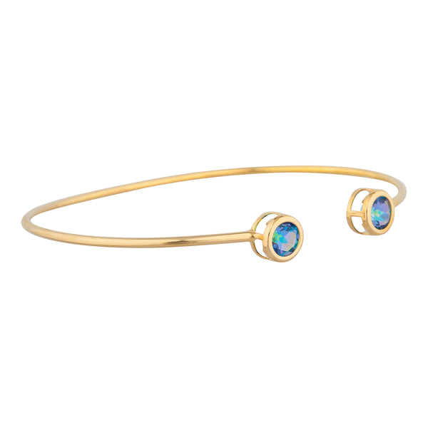 14Kt Yellow Gold Plated Natural Blue Mystic Topaz Round Bezel Bangle Bracelet