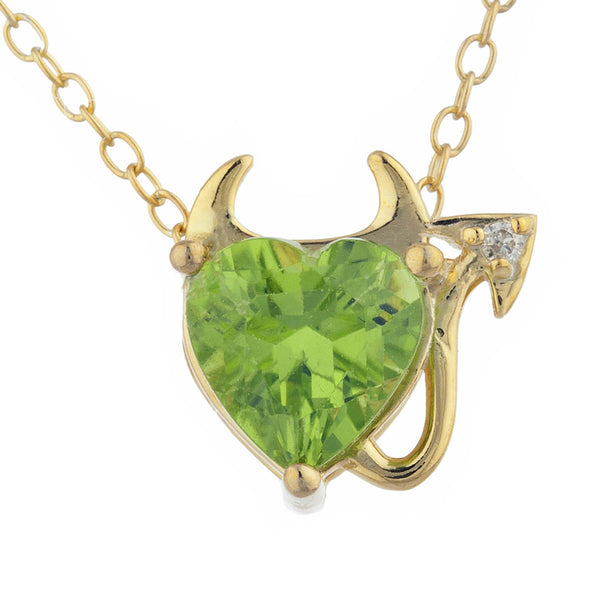 1.5 Ct Peridot & Diamond Devil Heart Pendant 14Kt Yellow Gold Silver