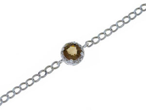 1 Ct Natural Smoky Quartz & Diamond Round Bracelet .925 Sterling Silver