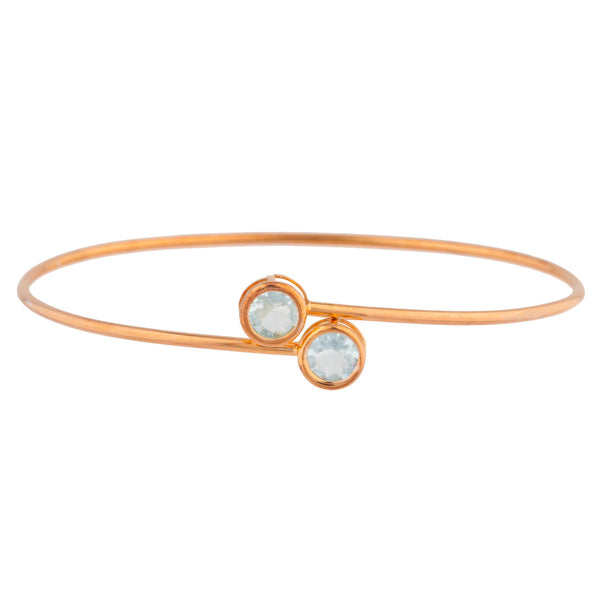 14Kt Rose Gold Plated Aquamarine Round Bezel Bangle Bracelet