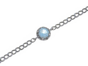 1 Ct Natural Aquamarine & Diamond Round Bracelet .925 Sterling Silver