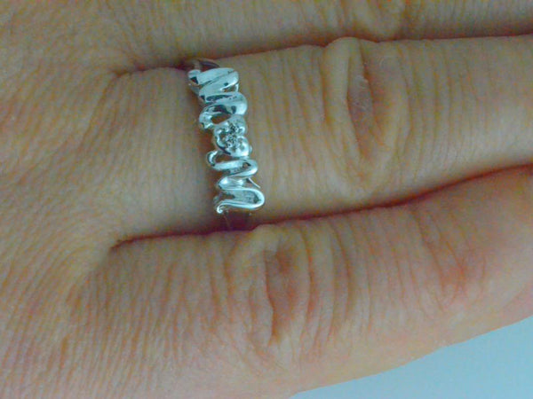 Mom Heart Diamond Ring .925 Sterling Silver