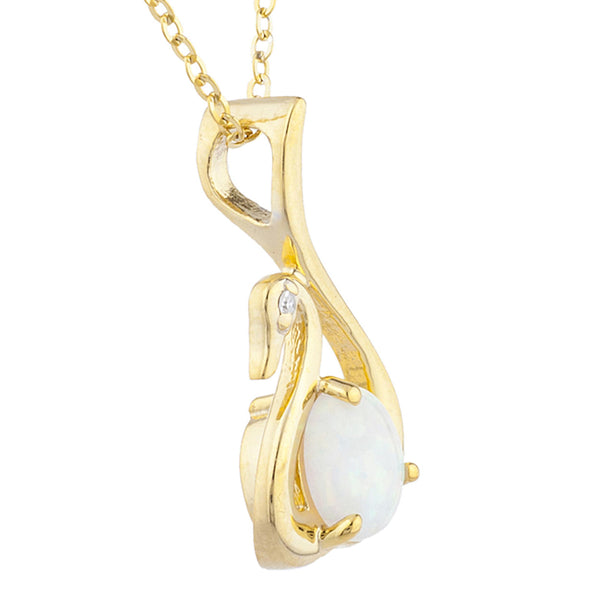14Kt Yellow Gold Plated Genuine Opal & Diamond Swan Pendant