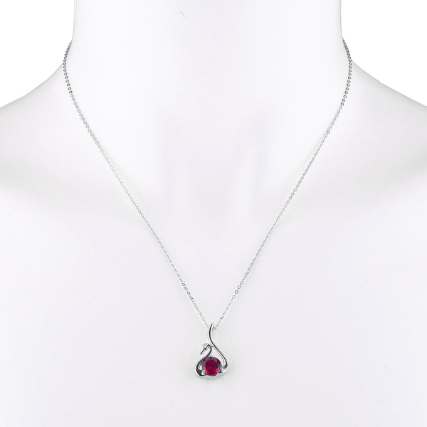 Created Ruby & Diamond Swan Pendant .925 Sterling Silver