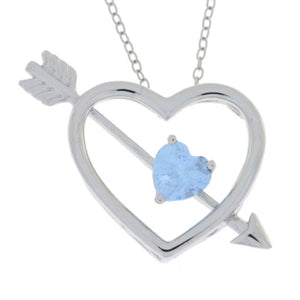 Aquamarine Heart Bow & Arrow Pendant .925 Sterling Silver Rhodium Finish