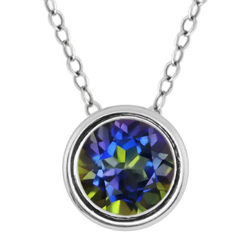 1 Ct Genuine Blue Mystic Topaz Round Bezel Pendant .925 Sterling Silver Rhodium Finish