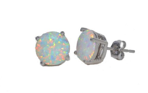 Opal Round Stud Earrings 14Kt White Gold