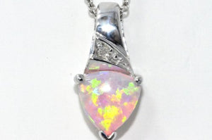 Pink Opal Trillion Diamond Pendant .925 Sterling Silver Rhodium Finish
