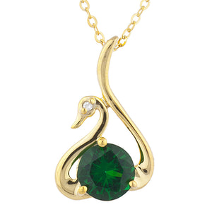 14Kt Yellow Gold Plated Emerald & Diamond Swan Pendant