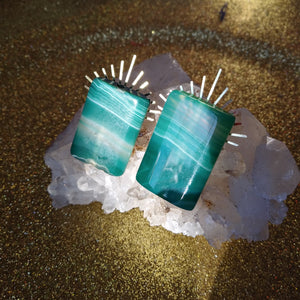 Green Agate Sunburst Earrings