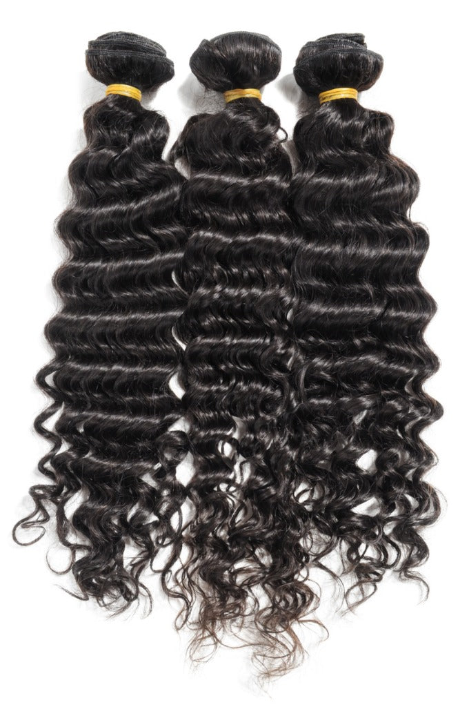Virgin Deep Wave Human Hair 3 Bundles