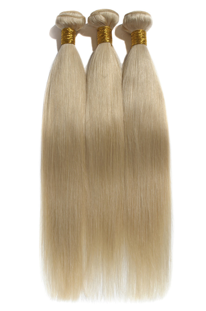 Premium Virgin Straight and Body Wave Russian Blonde (613) 3 Bundles