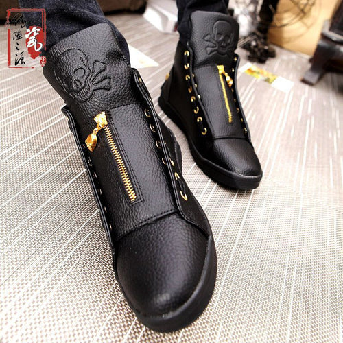 Punk Split Leather Skull High top Sneakers