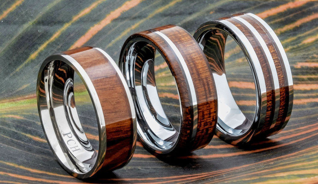 Hawaiian Koa Wood Wedding Bands by PCH Rings.com