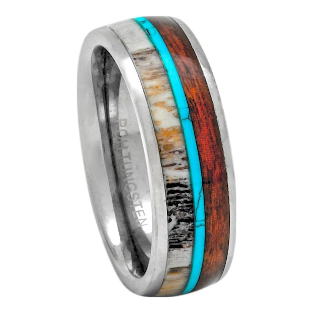 Deer Antler Ring with Hawaiian Koa Wood and Turquoise set in Tungsten