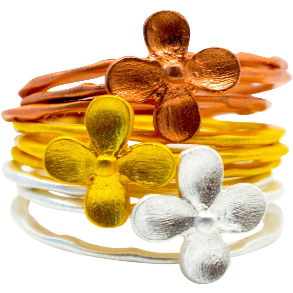 9 Stacking Flower Fashion rings, 14k Tri-Color Gold Overlay - PCH Rings