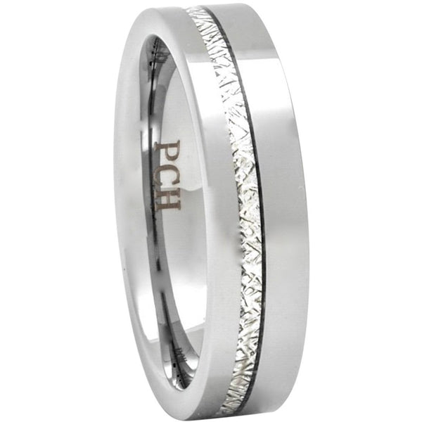 Meteorite Ring In Tungsten Carbide, 6mm Comfort Fit Wedding Band - PCH Rings